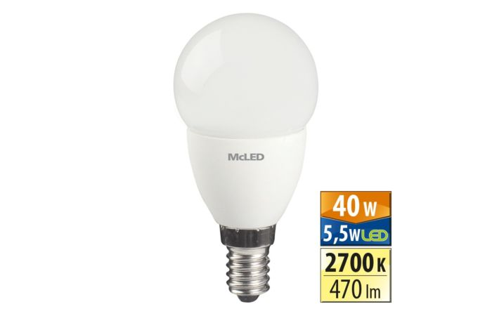 MCLED Žárovka LED 5,5W-40 E14 2700K 180° ilu.