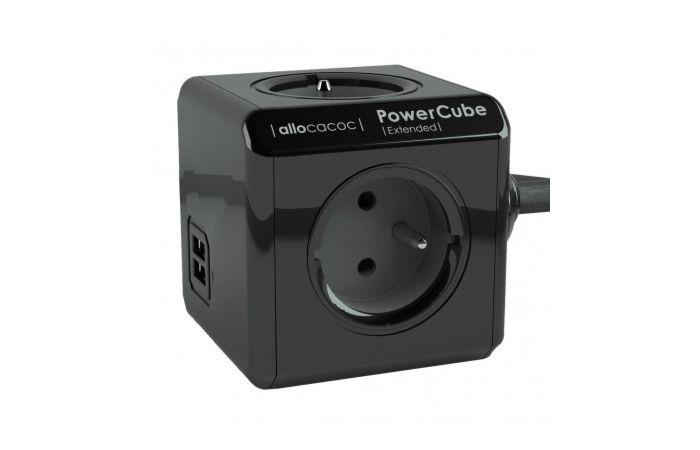 Rozbočka EXTENDED 4Z+2x USB 3m černá