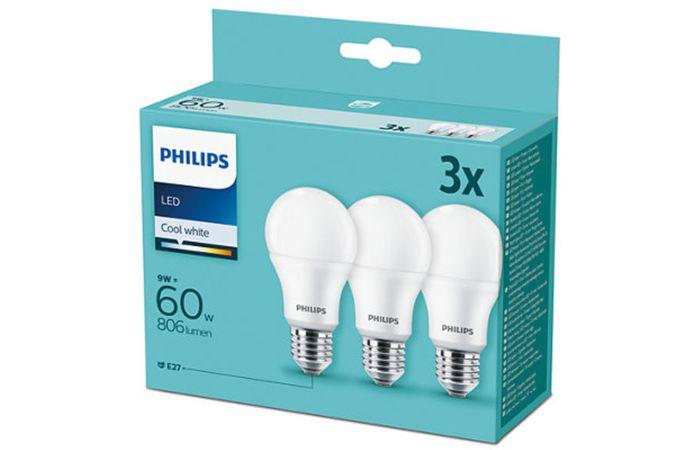 PHILIPS Žárovka LED Classic (hruška) 9W (60W), E27, studená bílá, 4000K, sada3ks