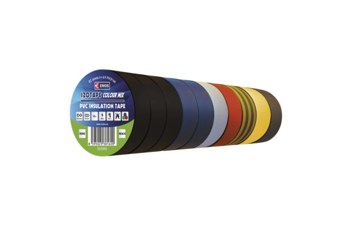 EMOS Izolační pásky PVC, šířka 15mm, délka 10m, různé barvy, sada 10 ks