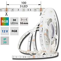 MCLED Pásek LED SMD RGB 7,2W/m 12V IP20 5m